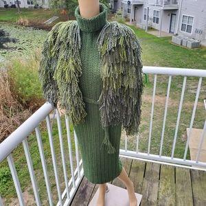 Crocheted turtleneck dress and shaggy jacket